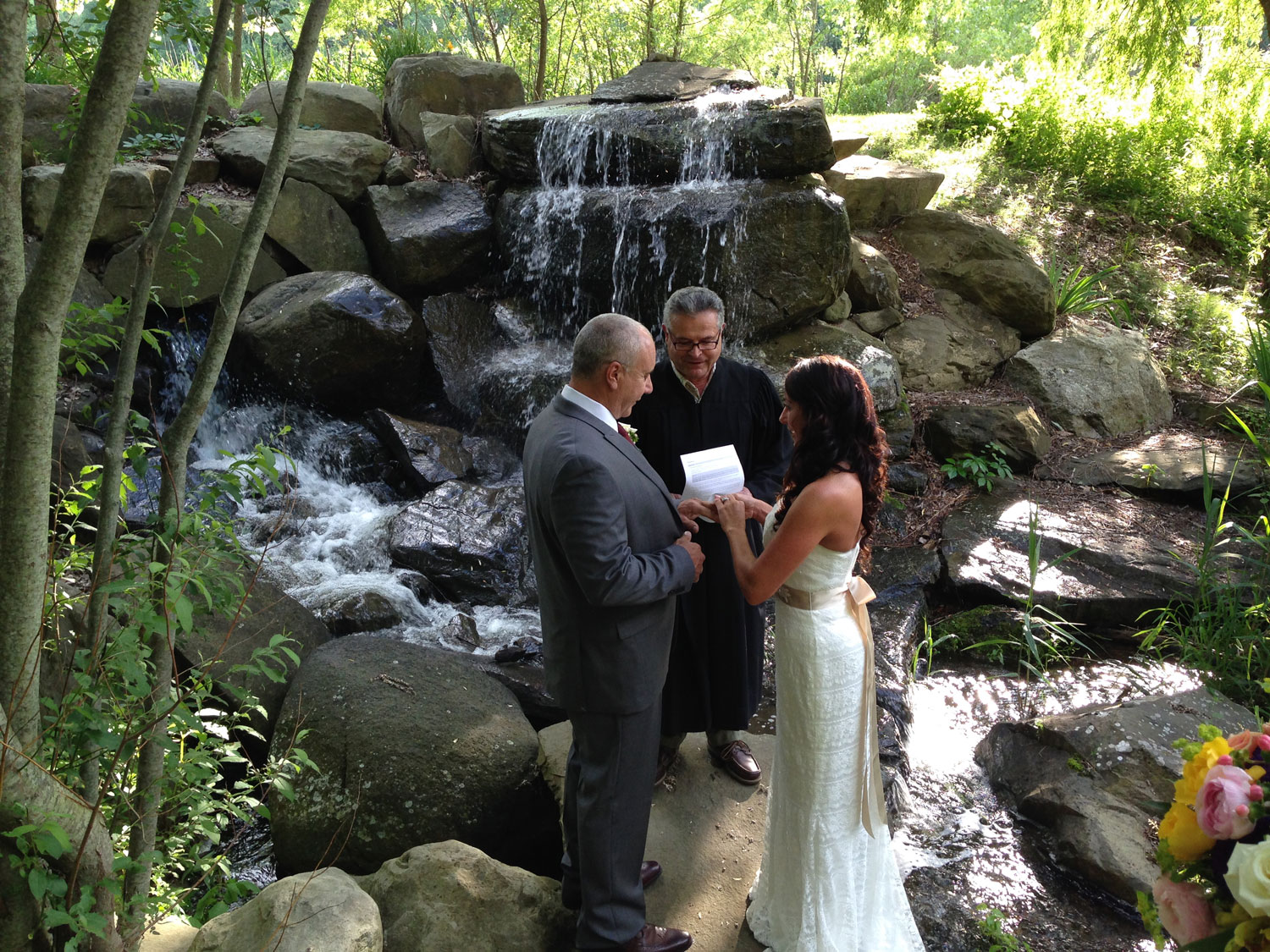 Exchanging Rings by the Waterfall