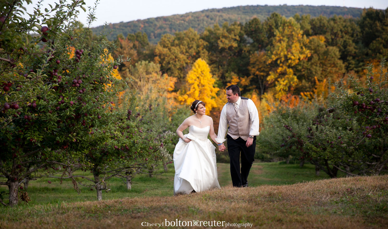 Bride and Groom Apple Orchard